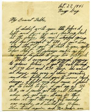 Primary view of object titled '[Letter by James E. Sutherlin to his parents - 10/27/1945]'.