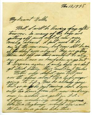 Primary view of object titled '[Letter by James E. Sutherlin to his parents - 11/12/1945]'.