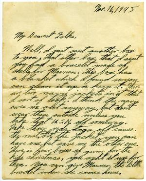 Primary view of object titled '[Letter by James E. Sutherlin to his parents - 11/16/1945]'.