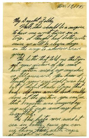 Primary view of object titled '[Letter by James E. Sutherlin to his parents - 11/19/1945]'.