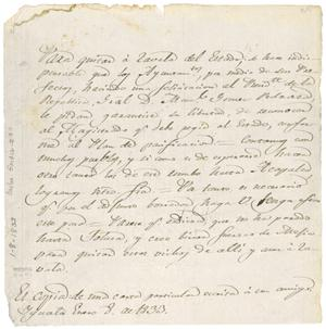 Primary view of object titled 'Copy of an unsigned letter discussing means to remove Zavala from Mexico State. Iguala. Jan. 8, 1833'.