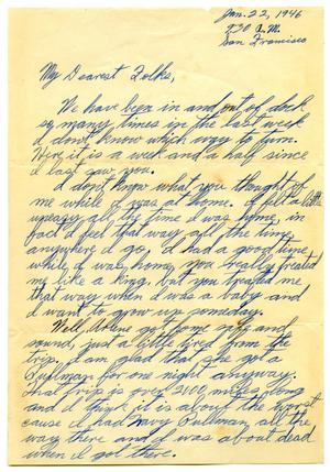 Primary view of object titled '[Letter by James Sutherlin to his parents - 01/22/1946]'.