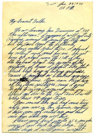 Primary view of object titled '[Letter by James Sutherlin to his parents - 01/29/1946]'.