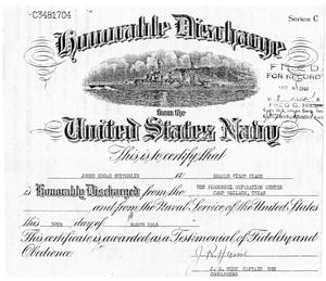 Primary view of object titled '[Honorable Disharge Certificate for James Edgar Sutherlin]'.
