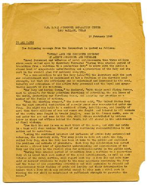 Primary view of object titled '[Notice to Active Personnel and Veterans ]'.