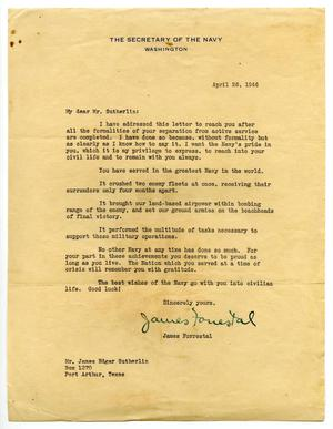 Primary view of object titled '[Letter from James Forrestal to James Edgar Sutherlin - 04/26/1946]'.
