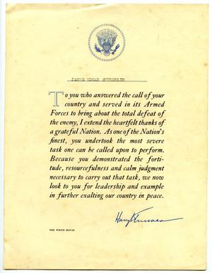 Primary view of object titled '[Presidential Letter In Gratitude of Service to James Edgar Sutherlin from Presiden Harry Truman]'.