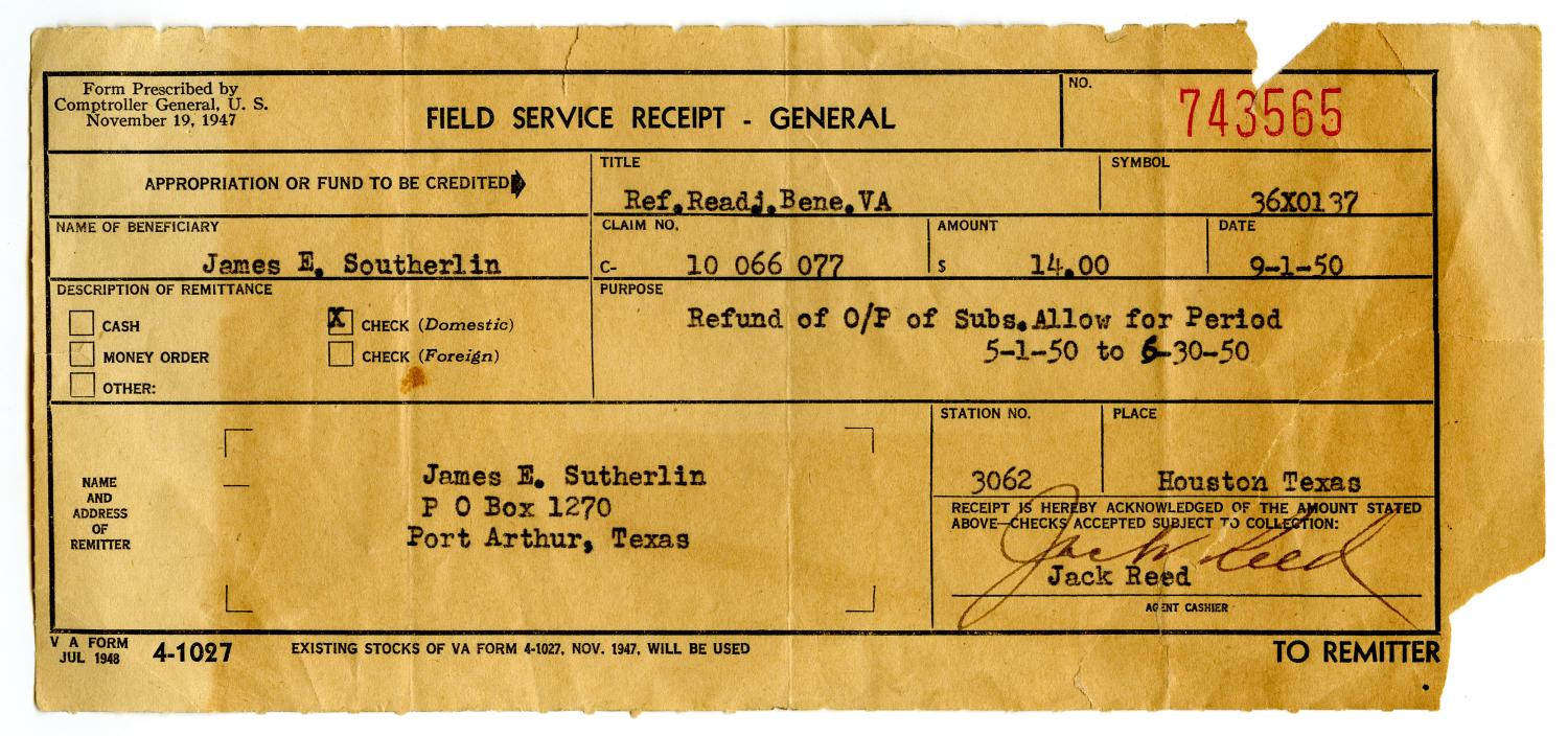 [Field Service Receipt for James Edgar Sutherlin - 09/01/1950]                                                                                                      [Sequence #]: 1 of 2