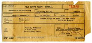 Primary view of object titled '[Field Service Receipt for James Edgar Sutherlin - 09/01/1950]'.