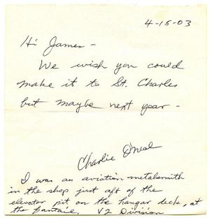 Primary view of object titled '[Letter by Charlie O'Neal to James Edgar Sutherlin - 04/15/03]'.