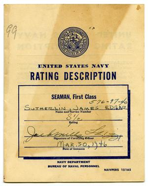 [United States Navy Rating Description for SEAMAN, First Class, Issued to James Edgar Sutherlin - 03/30/1946]