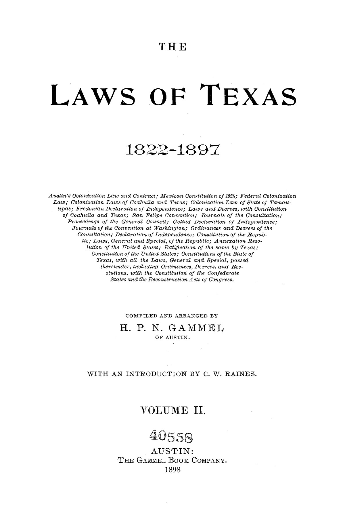 The Laws of Texas, 1822-1897 Volume 2                                                                                                      A