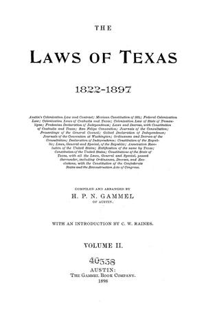 Primary view of object titled 'The Laws of Texas, 1822-1897 Volume 2'.