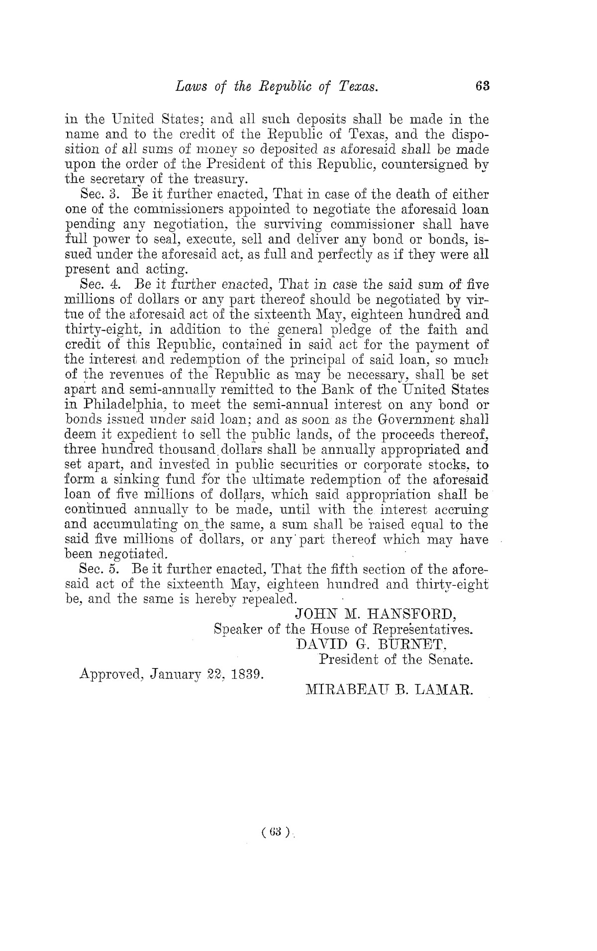 The Laws of Texas, 1822-1897 Volume 2                                                                                                      63
