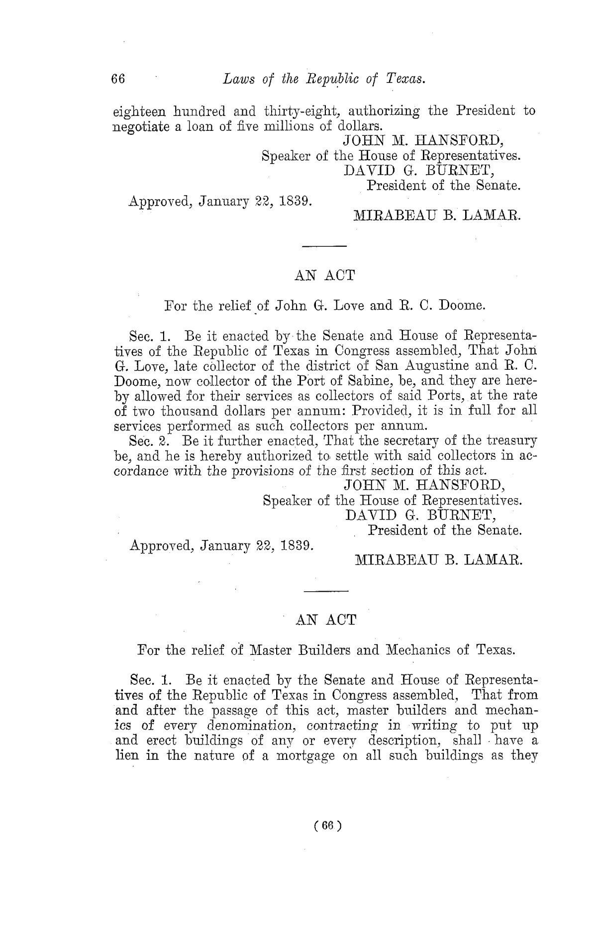 The Laws of Texas, 1822-1897 Volume 2                                                                                                      66