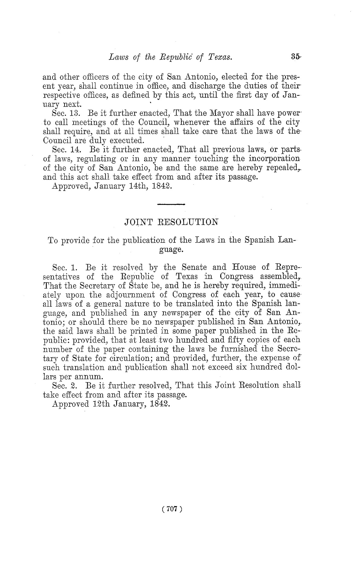The Laws of Texas, 1822-1897 Volume 2                                                                                                      707
