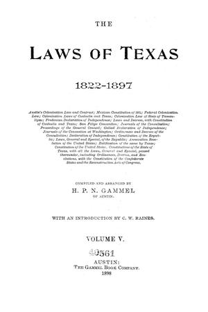 Primary view of object titled 'The Laws of Texas, 1822-1897 Volume 5'.