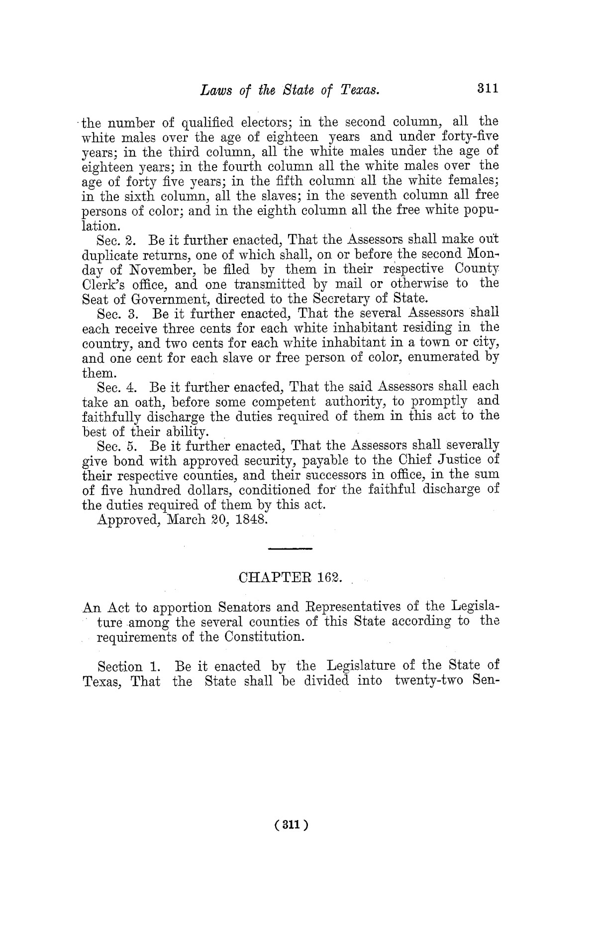 The Laws of Texas, 1822-1897 Volume 3                                                                                                      311