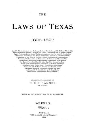 Primary view of object titled 'The Laws of Texas, 1822-1897 Volume 10'.