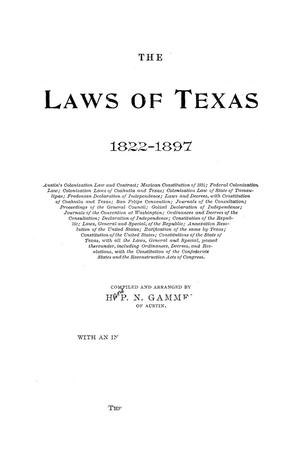 The Laws of Texas, 1822-1897 Volume 6