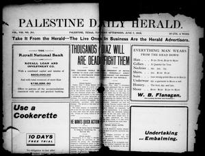 Primary view of object titled 'Palestine Daily Herald (Palestine, Tex), Vol. 8, No. 261, Ed. 1, Tuesday, June 7, 1910'.