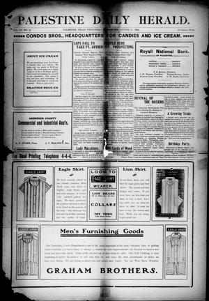 Primary view of object titled 'Palestine Daily Herald (Palestine, Tex), Vol. 3, No. 49, Ed. 1, Wednesday, August 31, 1904'.