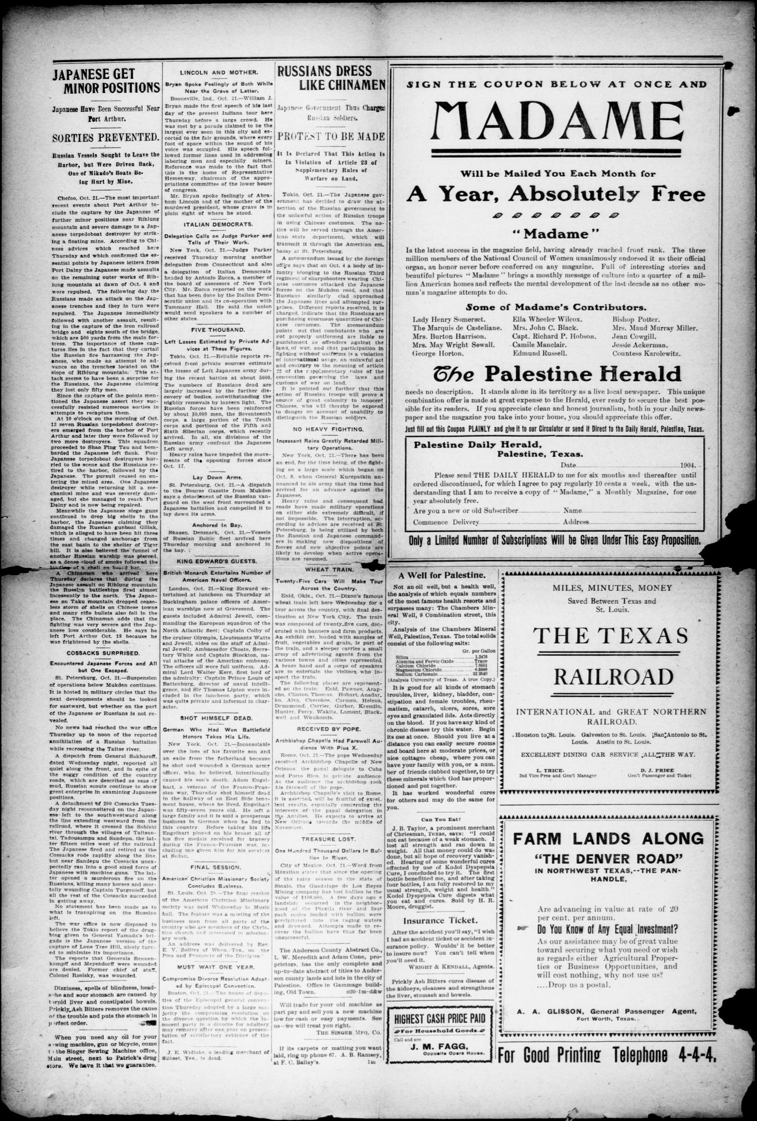 Palestine Daily Herald (Palestine, Tex), Vol. 3, No. 92, Ed. 1, Friday, October 21, 1904                                                                                                      [Sequence #]: 2 of 6