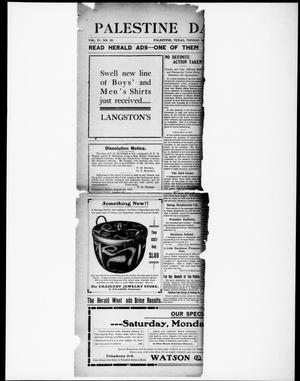 Primary view of object titled 'Palestine Daily Herald (Palestine, Tex), Vol. 4, No. 25, Ed. 1, Monday, August 7, 1905'.