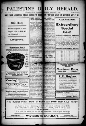 Primary view of object titled 'Palestine Daily Herald (Palestine, Tex), Vol. 4, No. 50, Ed. 1, Wednesday, September 6, 1905'.