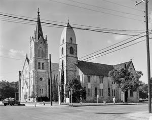 Primary view of object titled '[Saint Mary's Catholic Church, (Southeast oblique, camera facing Northwest)]'.