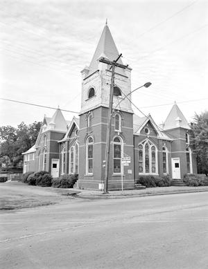 Primary view of object titled '[Presbyterian Church, (Northeast oblique)]'.