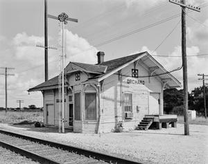 Primary view of object titled '[Santa Fe Railroad Station, (Southeast oblique)]'.