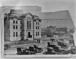 Primary view of object titled '[Hood County Courthouse, (Northwest oblique-Circa 1910's)]'.