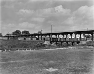 Primary view of object titled '[Ginocchio District Viaduct, (Southwest oblique of viaduct)]'.