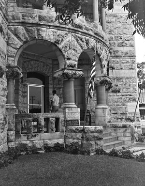 Primary view of object titled '[Comal County Courthouse, (Southwest entry detail)]'.