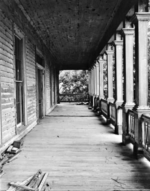 Primary view of object titled '[Stafford Ranch House, (East porch upstairs, looking North)]'.