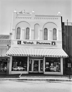 Primary view of object titled '[Westy's Pharmacy, (Front elevation (vertical))]'.