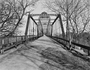 Primary view of object titled '[Faust Street Bridge, (Detail of damage)]'.