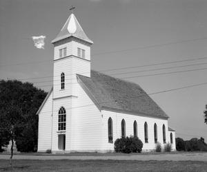 Primary view of object titled '[Saint John's Catholic Church, (Southwest oblique)]'.