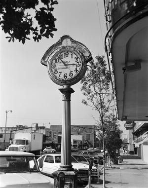 Primary view of object titled '[McCarley Jewelry, (Clock sign circa 1920)]'.