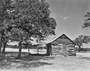 Primary view of object titled '[Clarence Thompson Cabin, (South facade)]'.