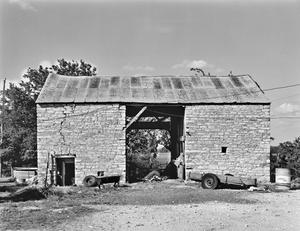 Primary view of object titled '[Frederick Lochte House and Farm, (Southwest elevation (Dogtrot barn))]'.