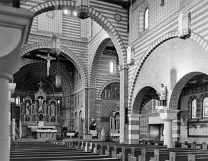 Primary view of object titled '[Saint Peter's Church Catholic Church, (Interior oblique)]'.