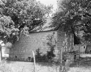 Primary view of object titled '[Kusenburger Homestead, (Southwest oblique of smokehouse)]'.