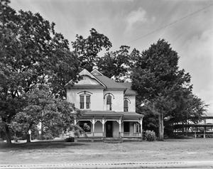 Primary view of object titled '[Haberle House, (Camera facing West, view of East (front) elevation)]'.