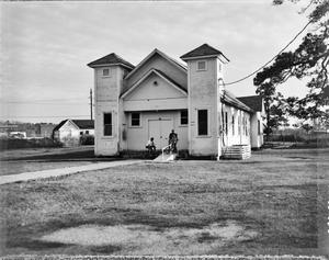 Primary view of object titled '[Mount Olive Baptist Church, (Northwest oblique)]'.