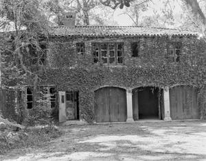 Primary view of object titled '[Sewell House, (Garage West facade)]'.