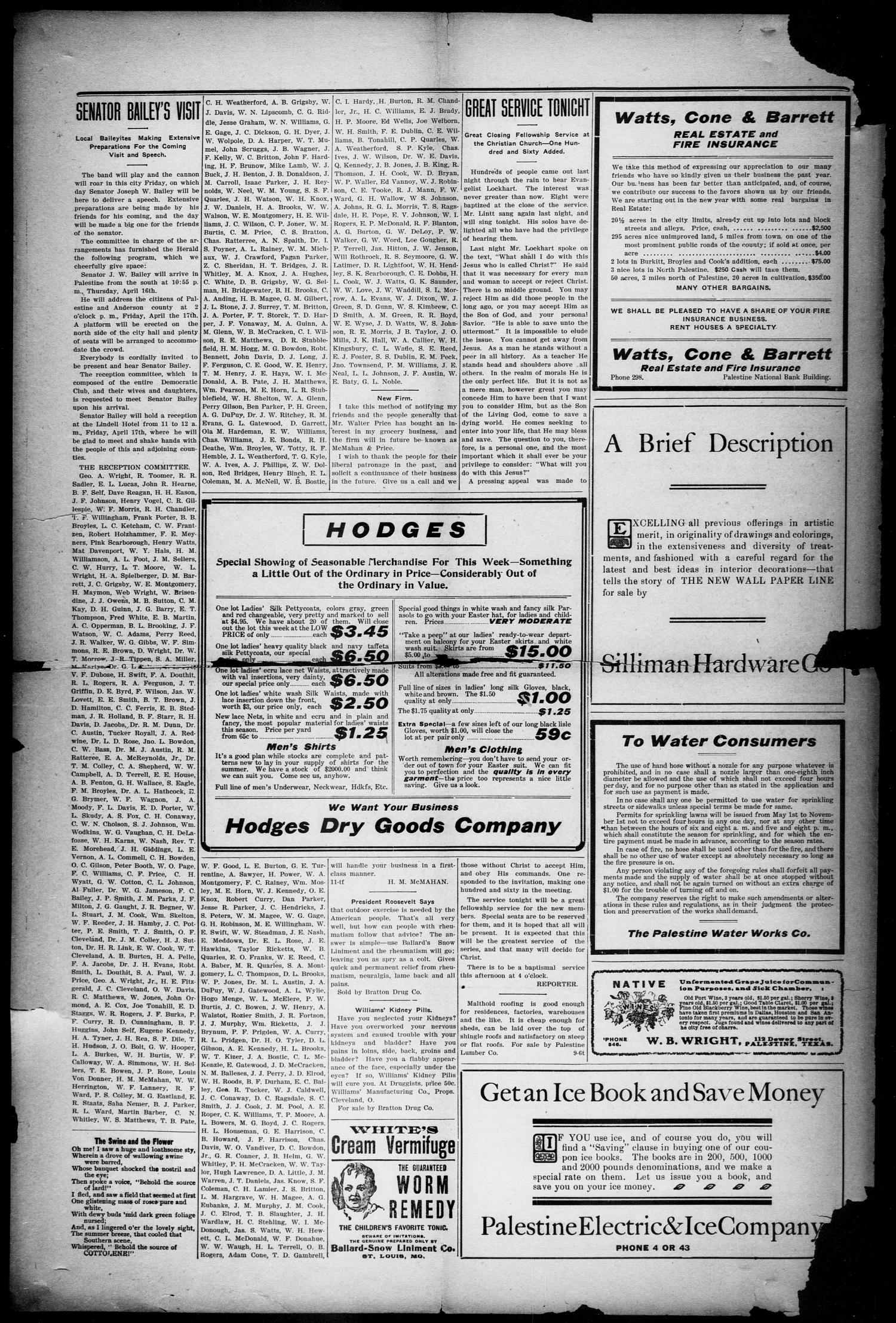 Palestine Daily Herald (Palestine, Tex), Vol. 6, No. 229, Ed. 1, Wednesday, April 15, 1908                                                                                                      [Sequence #]: 2 of 6