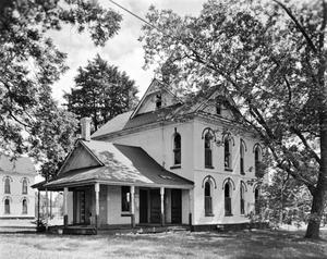 Primary view of object titled '[Haberle House, (View West (rear) and South (side) elevations, Camera facing Northeast)]'.