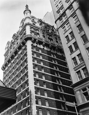 Primary view of object titled '[Adolphus Hotel, (Southeast oblique-detail of upper stories)]'.